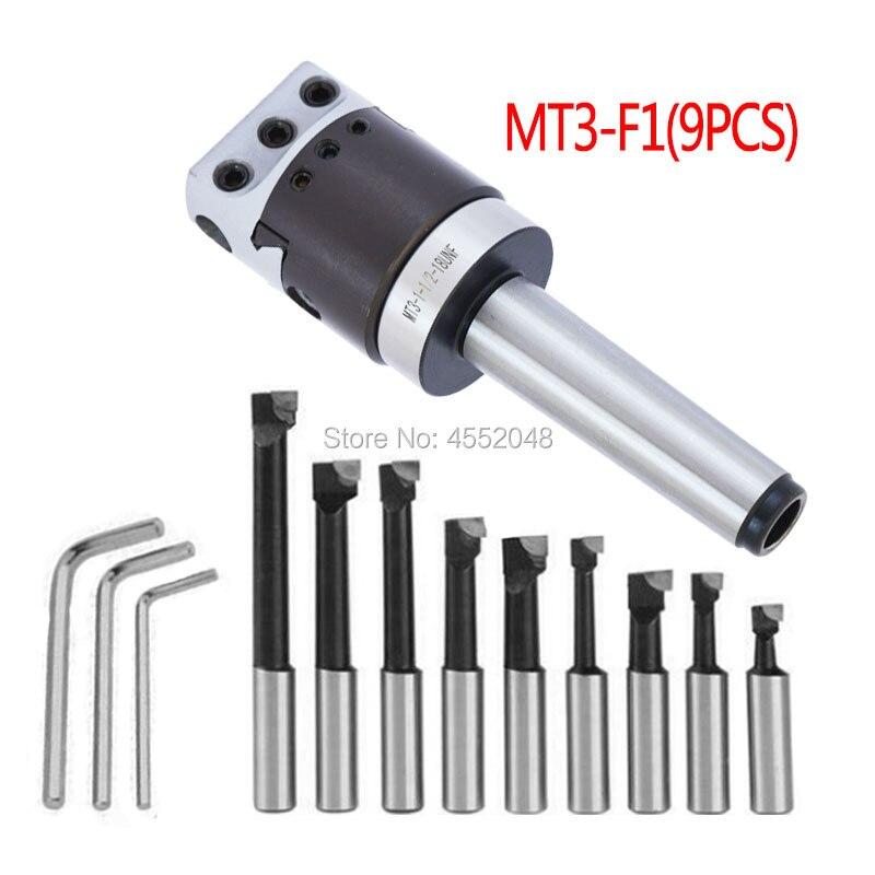 Zestaw stożkowy MT3, 1 MT3-F1-12 motyka 50mm, 1 MT3-M12 uchwyt motyka, 9 szt. Wytaczadło 12mm, 3 klucze. Wysoka jakość
