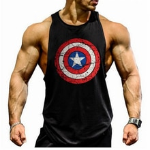 Skull Captain Gym Cotton Singlets Canotte Bodybuilding Stringer Tank Top Super man Fitness Shirt Mus