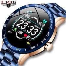 LIGE Steel Band Smart Watch Men Heart Rate Blood Pressure Monitor Sport Multifunction Mode Fitness Tracker Waterproof Smartwatch