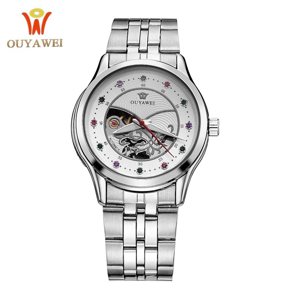 Reloj Mecánico de lujo OUYAWEI para mujer, diseño de esqueleto, reloj automático para mujer, de lujo, de acero completo, impermeable, Montre para mujer