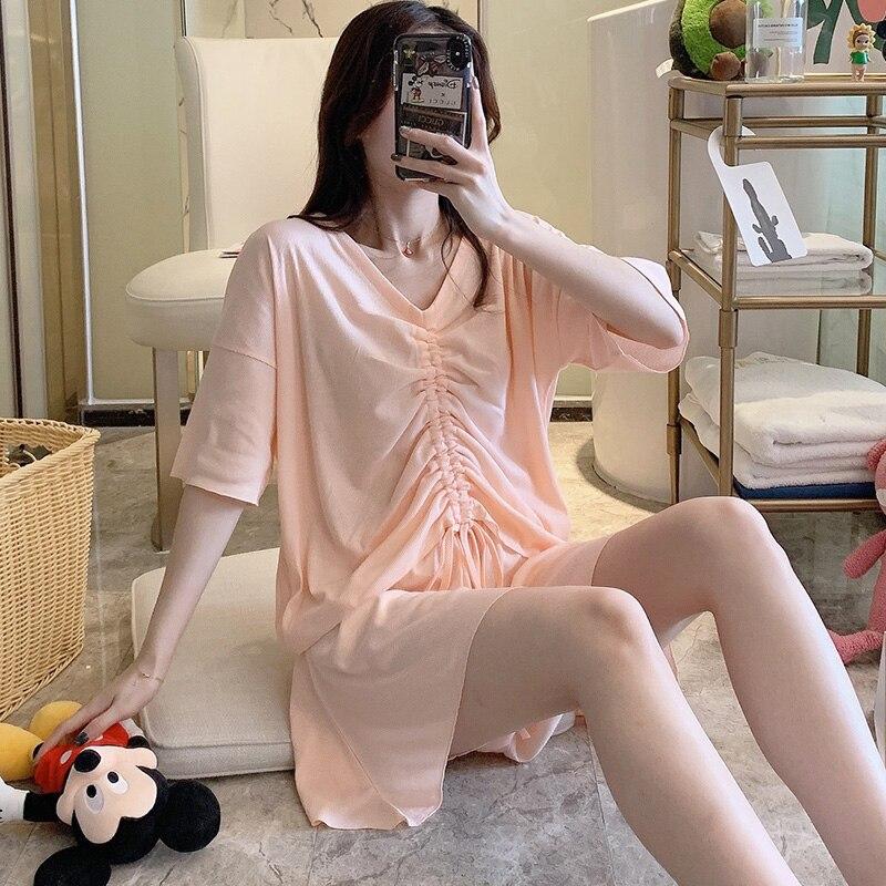 Pijamas de algodón con cordón para mujer, traje de dos piezas de hilo elástico, ropa de casa de manga corta, se puede llevar en el exterior