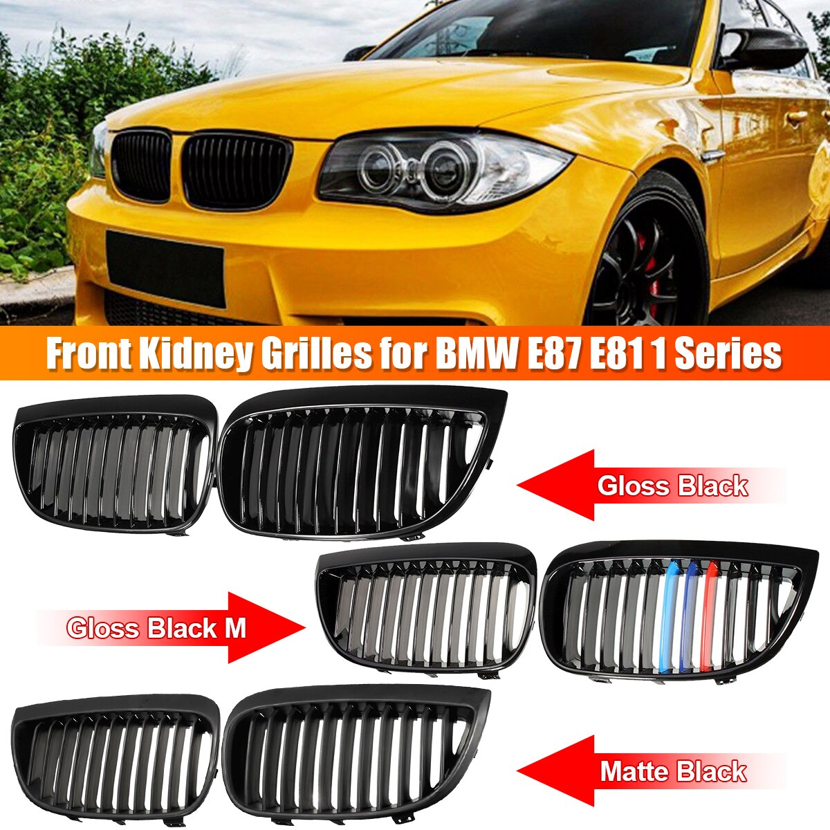 Para BMW E87 E81 1 serie 2004-2007 par izquierda y derecha coche delantero deporte riñón parrilla negro mate