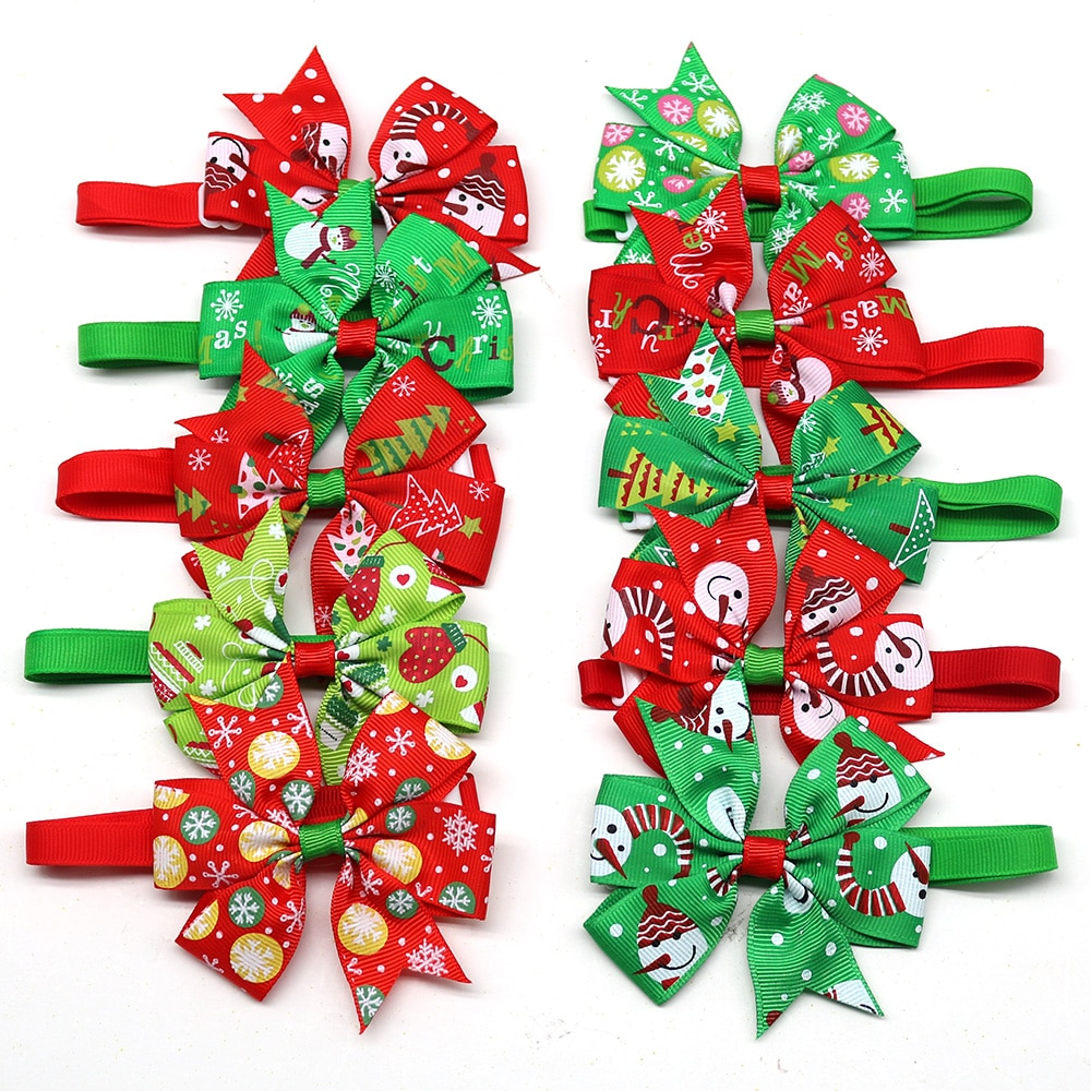 50/100pcs Dog Christmas Bow Tie Christmas Pet Supplies Dog Accessories Small Dogs Cat  Bowties Neckt