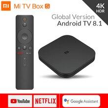 Xiao mi boîte S 4K TV Box Cortex-A53 Quad Core 64 bits Mali-450 1000Mbp Android 8.1 2GB + 8GB HD mi 2.0 WiFi BT4.2 dernier