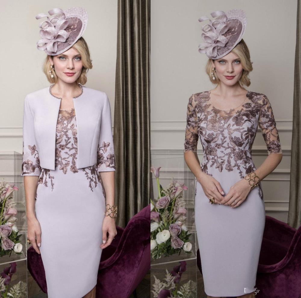 Mother of the Bride Dresses With Jacket Lace Applique Wedding Guest Gowns Half Long Sleeve Satin Mot