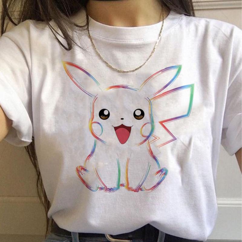 Summer T-shirt Women Pokemon Pikachu Cartoon Anime T-shirt Harajuku Streetwear Tops Clothing Tshirt Female Casual Woman T-shirt