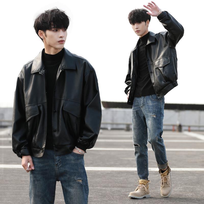 2020 Мужская свободная стильная куртка, мотоциклетная кожаная куртка, мужские Модные кожаные куртки, мужская куртка-бомбер
