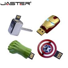 JASTER The Avengers métal capitaine américain hulk clé USB clé USB homme de fer 64GB 32GB 16GB 4GB clés de mémoire Flash