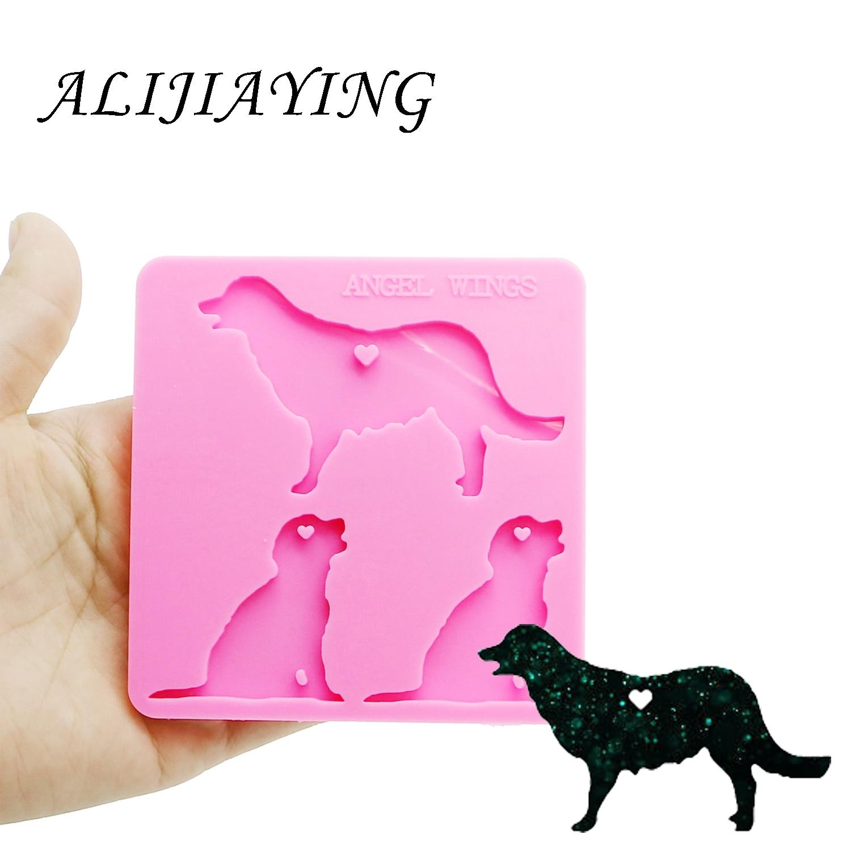 Chaveiro brilhante cão família golden retriever mama/bebê molde chaveiro decoração silicone molde para diy resina cola epoxy atacado dy0126
