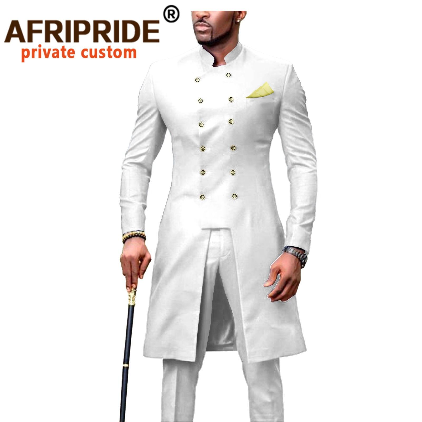 بدلة أفريقية للرجال Dashiki سترات طويلة وسراويل 2 قطعة مع منديل مزدوجة الصدر سليم صالح ملابس رسمية معاطف A2016054