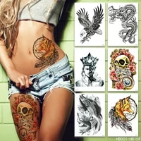 waterproof temporary tattoo stickers black tattoo cat skull lion wolf rose leg chest arm fake tattoo for man woman
