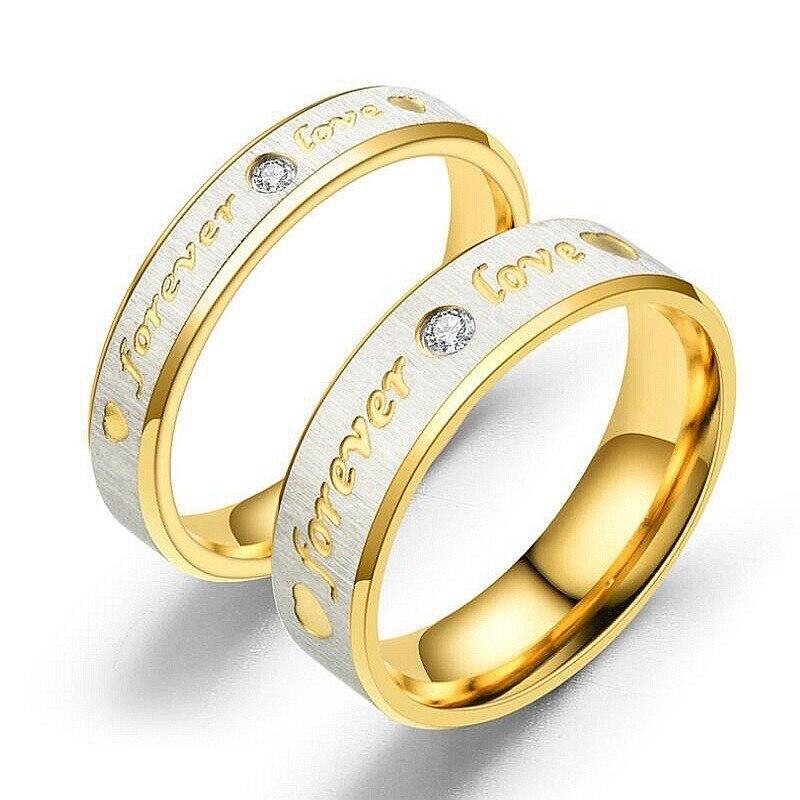 Letra de color oro anillo titanio Acero inoxidable Acero anillo para siempre amor Cubiz Zirconia boda pareja anillo para amantes Anillos