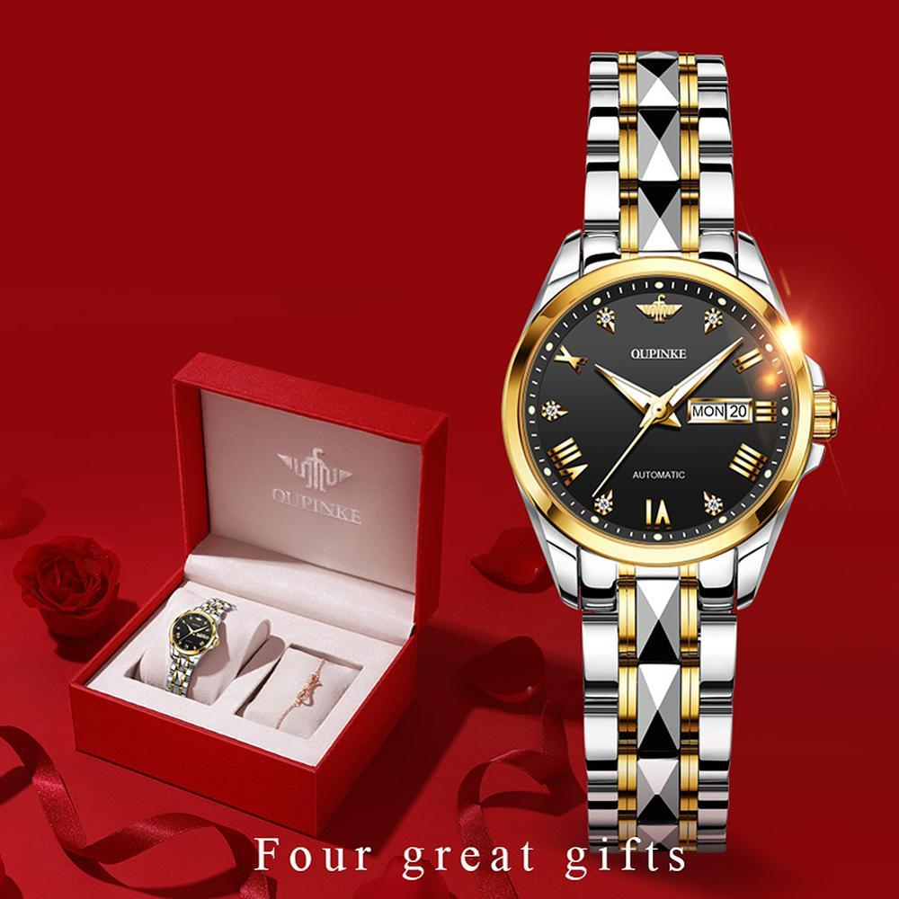 OUPINKE Top Luxury Women Wristwatch Automatic Mechanical Waterproof Watch Sapphire Mirror Tungsten Steel Watchstrap Lady Watches enlarge