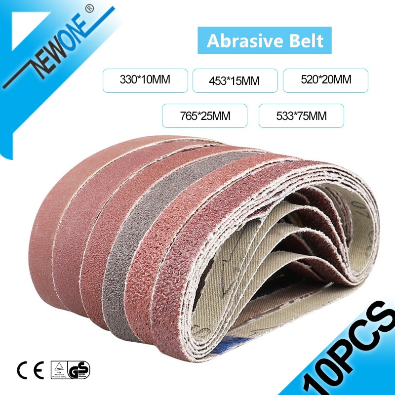 10PC Abrasive Sanding Belts 453*15 Sander Belt Sander Attachment Grinder Polisher Power Tool Accessory Wood Soft Metal Polishing
