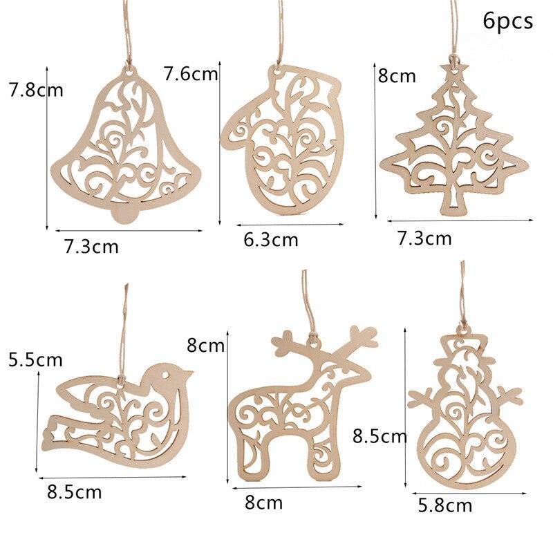 6 unids/set de virutas de madera adornos colgantes de Navidad decoraciones para árboles de Navidad para el hogar suministro de decoración de fiesta de navidad
