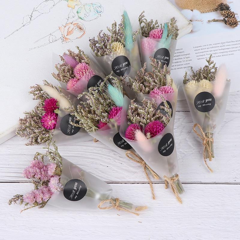Bonito ramo de flores secas césped de cristal Artificial para regalo de San Valentín, decoración artesanal para niñas, flores secas, accesorios de fotografía