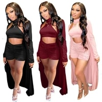 echoine 3 pcs sleeveless halter backless crop top pleated stacked shorts long cardigans three piece set tracksuit metching set