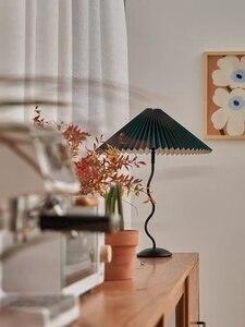 Japanese Retro симпл димпл Abajur Cloth Pleated Iron Lamp Practical Decorative Living Room And Bedroom LED Light Source Lamps