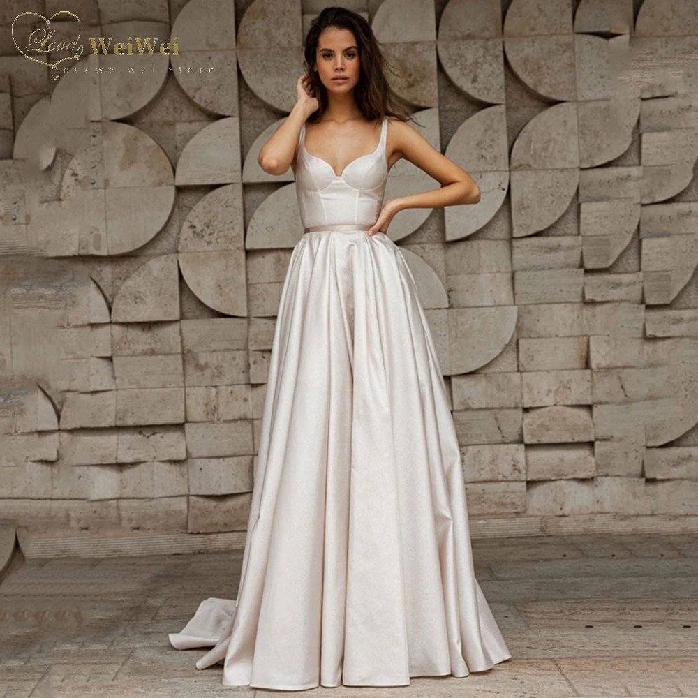 Get Simple A-Line Satin Wedding Dress Sweetheart Neck Sleeveless Spaghetti Straps Backless Sash Bridal Gowns Vestidos De Novia