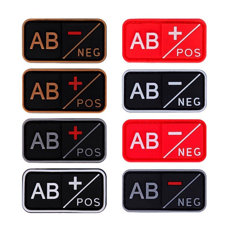 Negativo 3D A- B- AB- O-negativo grupo parche de PVC + B + AB + O + insignias 1PC positivo táctico moral parches militares tipo de sangre de goma
