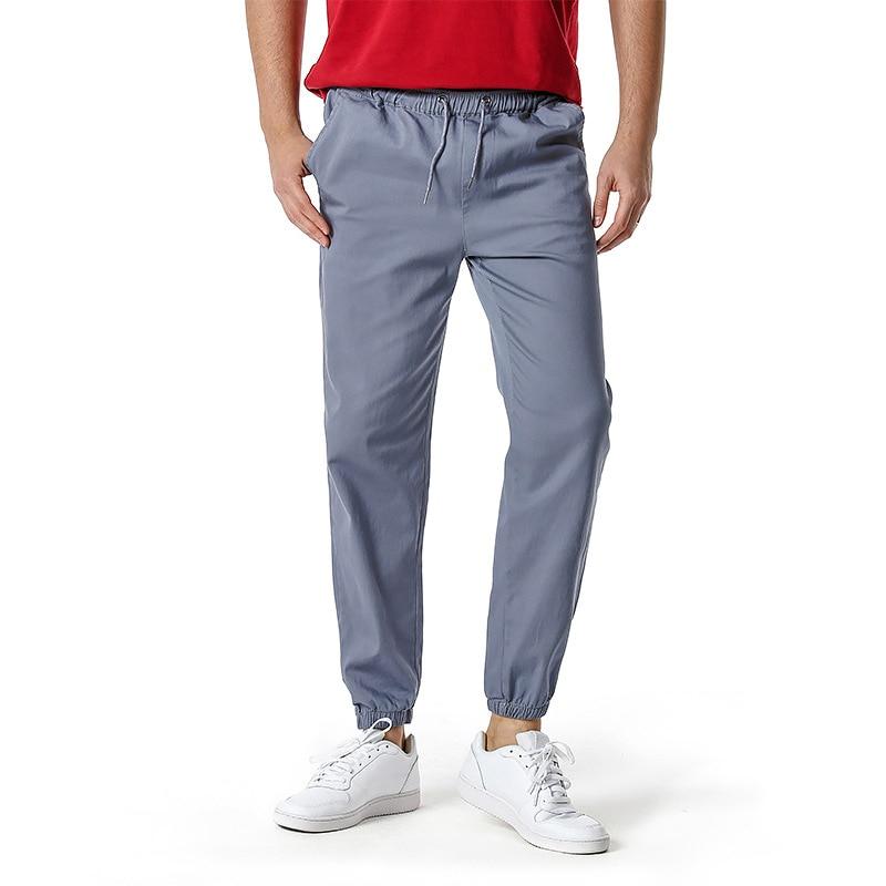 Men Ankle Banded Pants Solid Elastic Waist Trouser for Men Clothing Streetwear New Fashion Confortable Joggers Men Pants