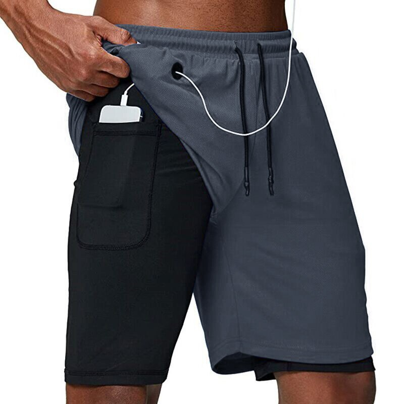 2020 Running Shorts Men Fitness Gym Training Sports Shorts Quick Dry Workout Gym Sport Jogging Doubl