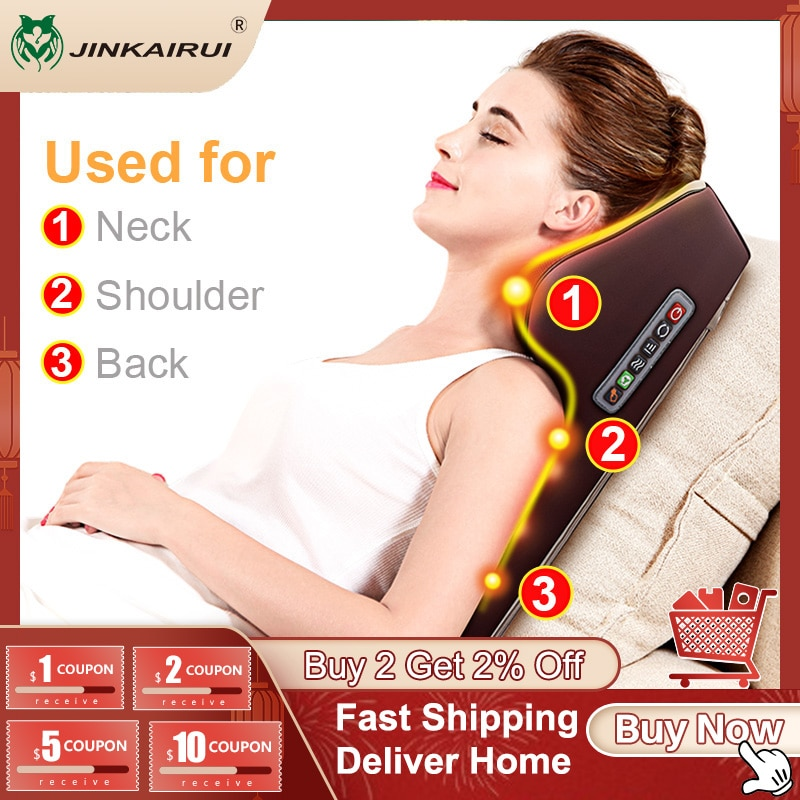 Jinkairui Neck Massager Car Home Cervical Shiatsu Massage Shoulder Back Waist Body Electric Massage Pillow Cushion Relieve Pain
