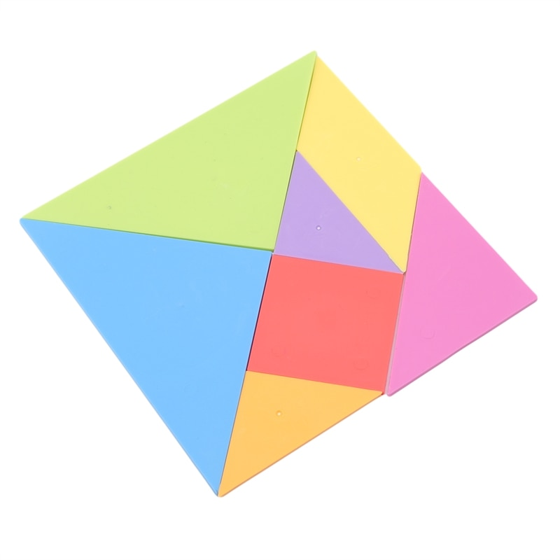 New Style 10*10cm Children Jigsaw Puzzle Rainbow Color Plastic Tangram DIY Brain Puzzle Kid Learning Education Puzzles Toy
