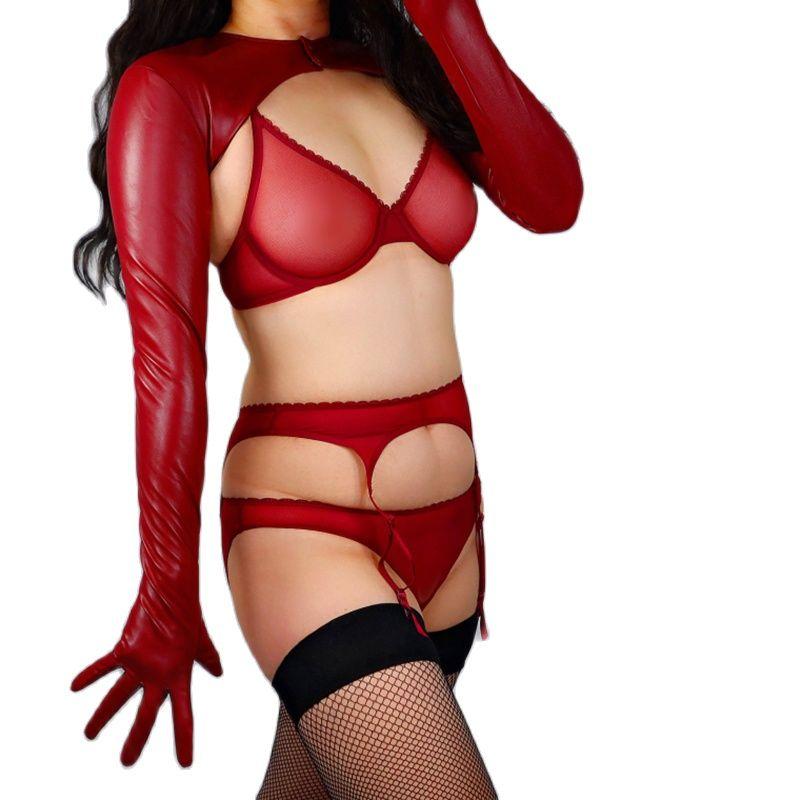 Новинка 2021, женские перчатки болеро из искусственной кожи, искусственная овечья кожа, укороченный топ, женские длинные кожаные перчатки WPU296