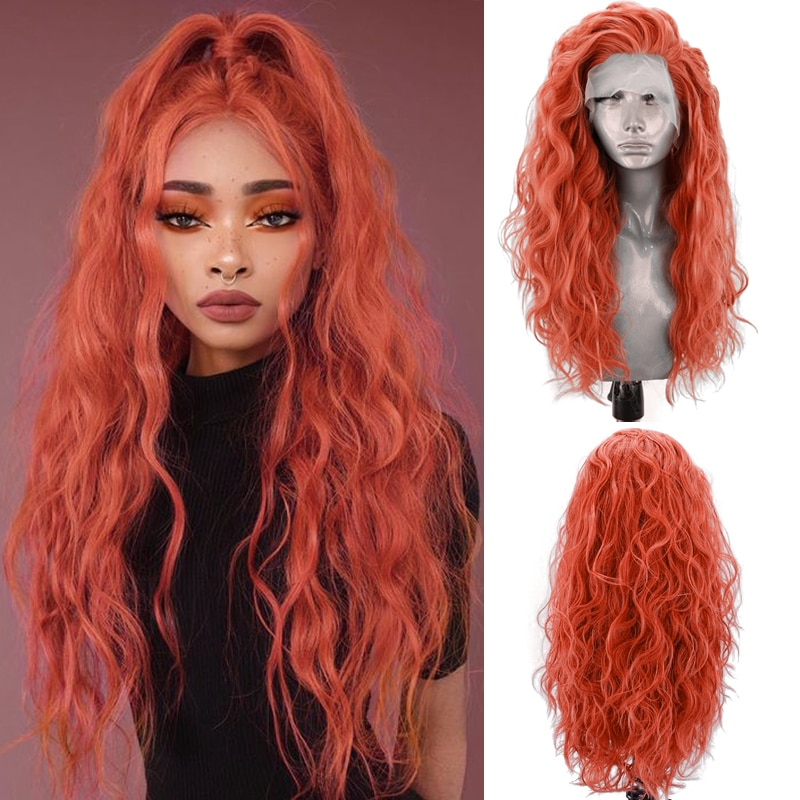 Charisma Orange Synthetic Lace Front Wigs for Women Long Body Wave Cosplay Wig with Side Part Wigs Cosplay Wig fashion side bang short straight orange charming kousaka honoka cosplay wig with double chignons