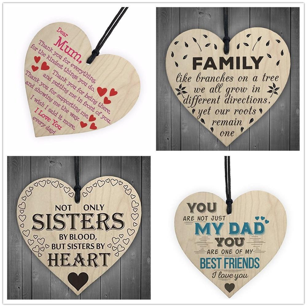 Manualidades de madera con forma de corazón para papá y mamá, 1 pieza, decoración de árbol de Navidad DIY, etiqueta de vino, pequeños accesorios colgantes