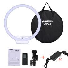 YONGNUO YN608 Studio Ring LED elastyczna lampa wideo 3200-5500k światło fotograficzne bezprzewodowy pilot + Adapter AC