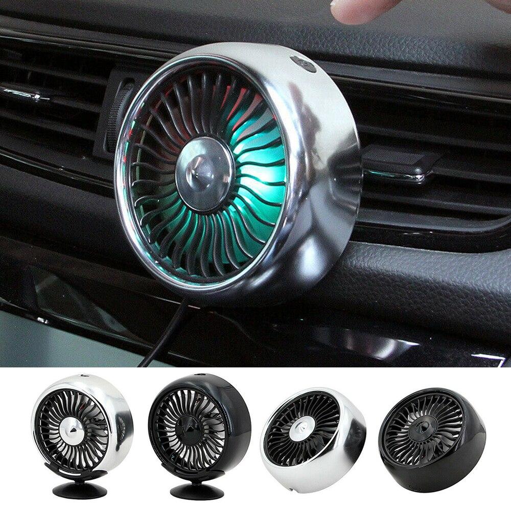 Ventilador de ventilación de 12V para coche con Cable USB de 360 grados giratorio, refrigeración por aire por poco ruido, refrigerador de aire multifunción de 3 velocidades