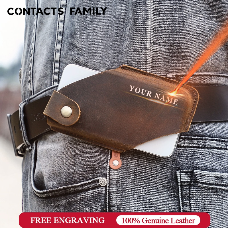 CONTACT'S FAMILY 100% Genuine Leather Men Cellphone Loop Holster Case Belt Waist Bag Phone Wallet An