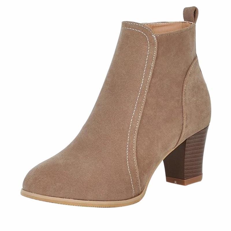Botas de cuero de gamuza 2019 a la moda para mujer, botas de tacón alto, zapatos de mujer, botines de mujer, envío directo