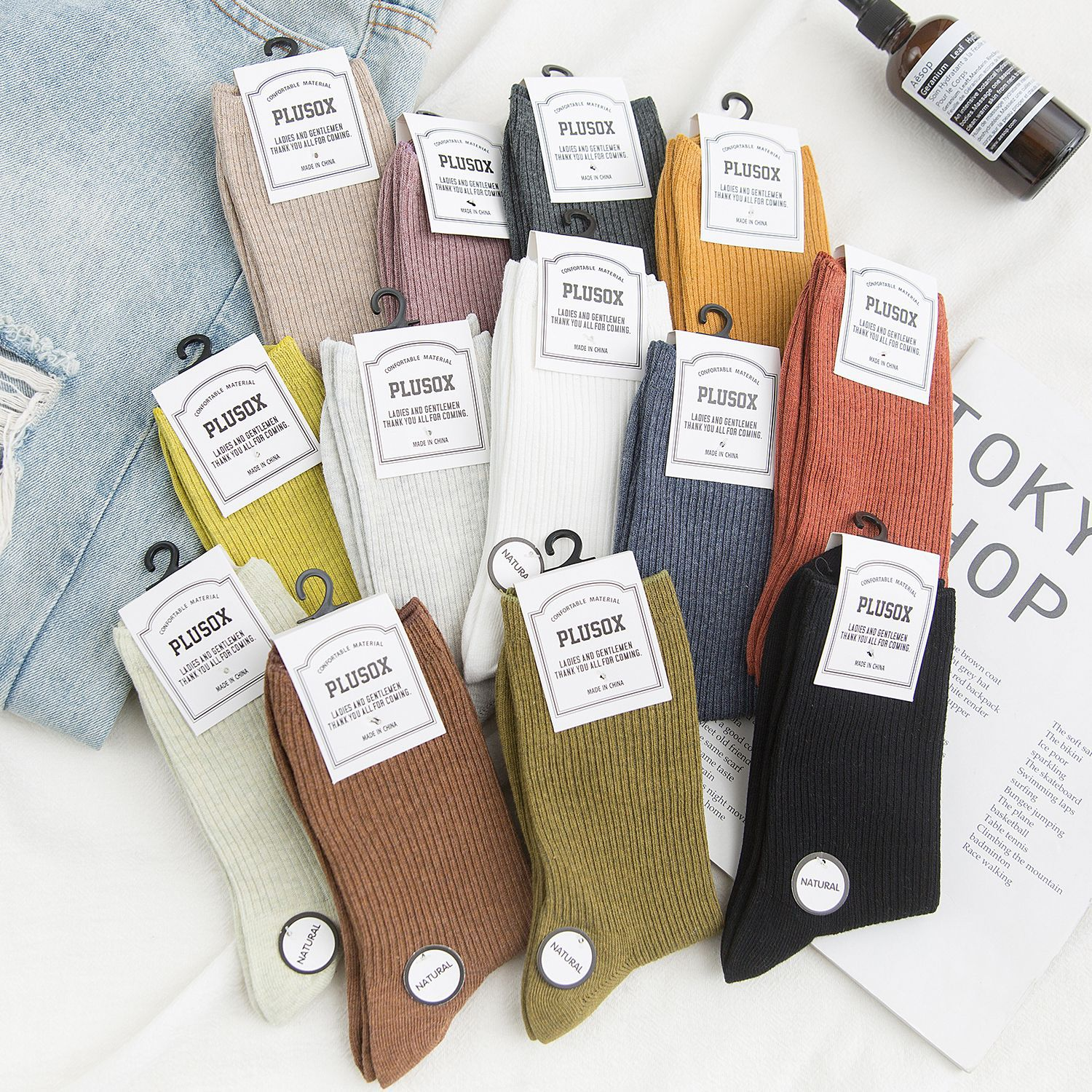 Socks Women's Autumn and Winter New Products Striped Solid Color Socks Socks Women Autumn All-match In Tube Pile Pile Socks socks women s summer thin section korean version of the tube socks velvet pile pile socks tide solid color curling ice ice socks
