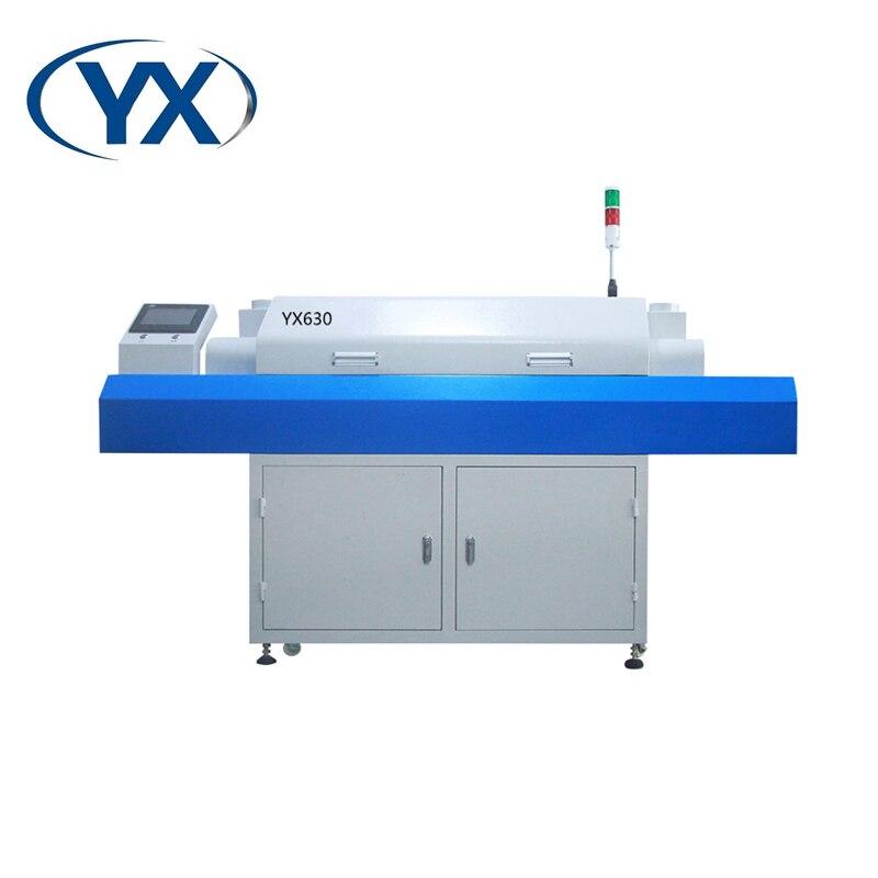2021 6 درجة حرارة 6 مناطق أعلى 3 ، أسفل 3 ، عالية الكفاءة سرعة اختيار ومكان SMT YX630 لحام بإعادة الدفق الفرن لخط الإنتاج
