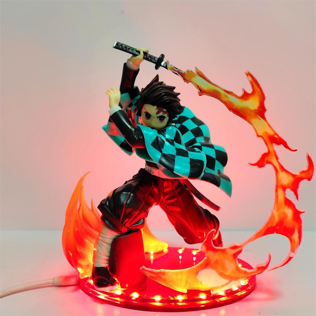 Demon Slayer PVC Action Figures Tanjirou Fire Blade Scene Effect Anime Kimetsu no Yaiba Tanjirou Sword Effect Diy Figurine Toys