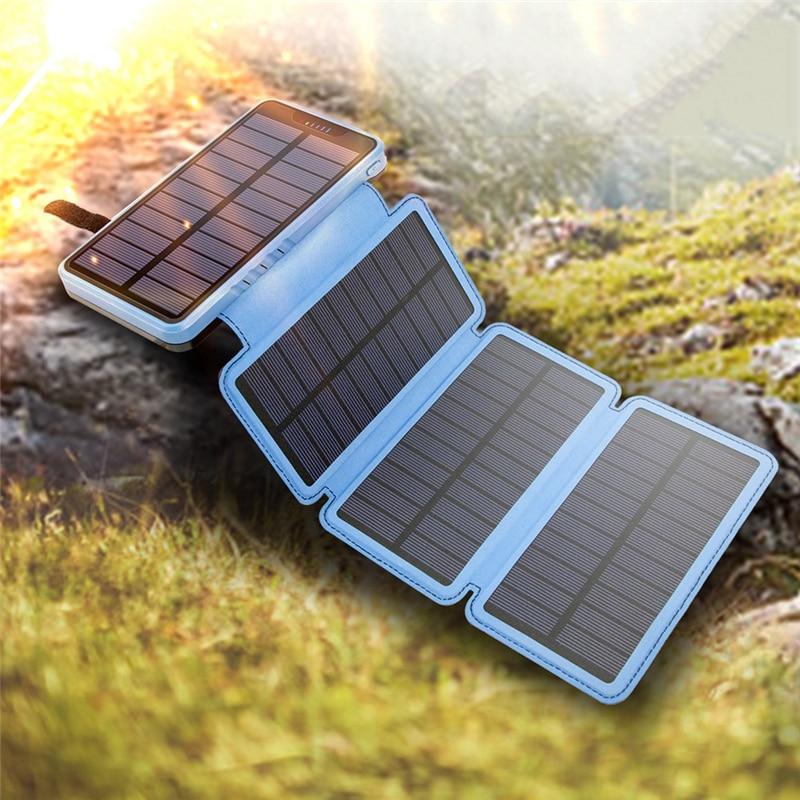 10000mAh 20000mAh طوي خزان طاقة يعمل بالطاقة الشمسية مقاوم للماء Powerbank مع مصباح يدوي لتسلق السفر فقيرة للهاتف المحمول