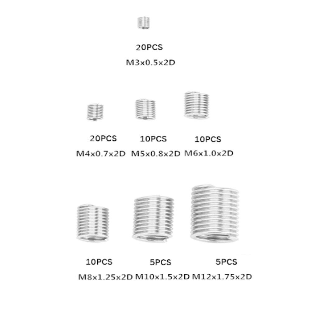 Kit de reparación de rosca 2D 304 de M3-M12 plateado de 80 Uds inserto roscado rosca Set helicoil de acero inoxidable para herramientas de reparación de Hardware