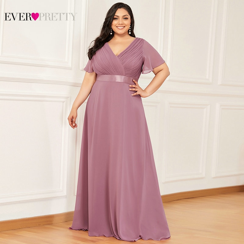 Plus Size Evening Dresses Long Ever Pretty Elegant A Line V Neck Ruffles Chiffon Formal Wedding Party Dress Robe De Soiree 2021