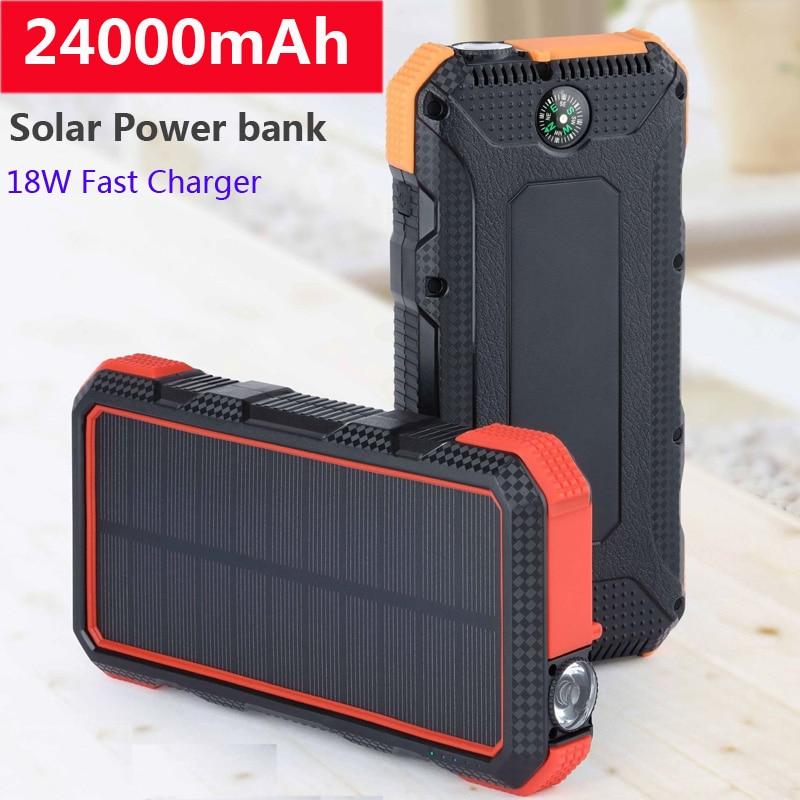 24000mAh سعة كبيرة مقاوم للماء بنك الطاقة الشمسية لأجهزة الكمبيوتر المحمول شاومي اللوحي الهاتف العالمي Powerbank سريع محمول شاحن