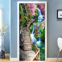 Pegatinas de puerta 3D con paisaje de cascada y puente moderno, papel tapiz 3D autoadhesivo de PVC para sala de estar, pegatinas decorativas para Puerta del dormitorio