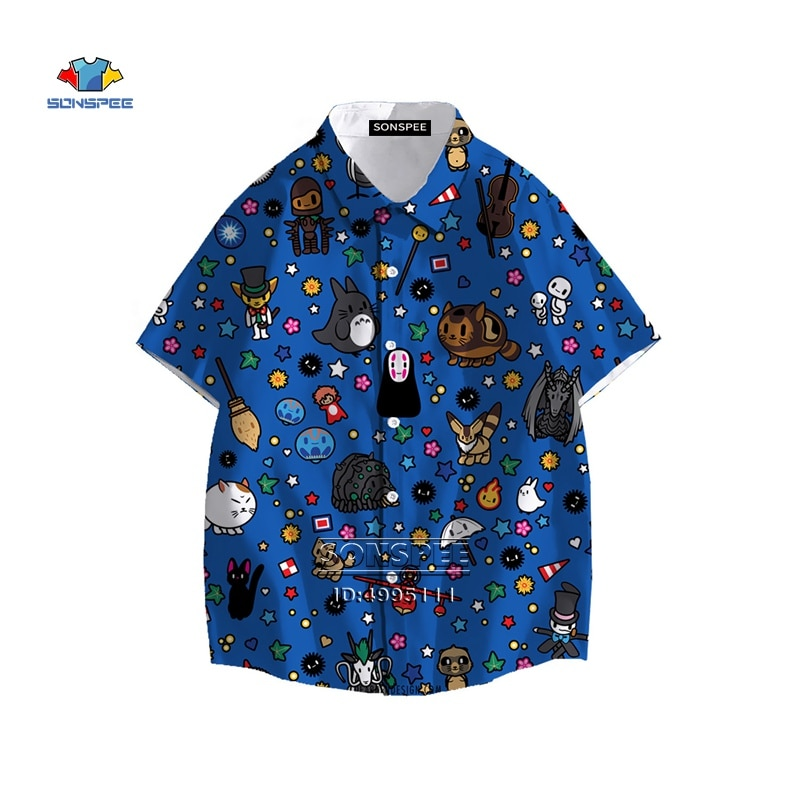 SONSPEE New Miyazaki Hayao My Neighbor Totoro Men's Shirt Spirited Away Hawaiian Shirt 3D Print Summer Casual Beach Shirts Tops недорого