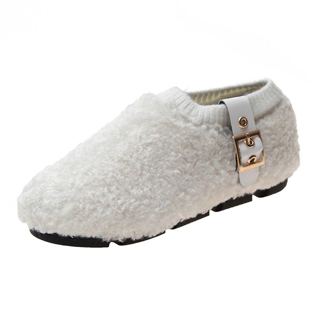 Zapatos cálidos cortos de felpa más algodón de lana zapatos de moda de fondo suave lindos zapatos de una pierna zapatos de guisantes de Mujer Zapatos de felpa