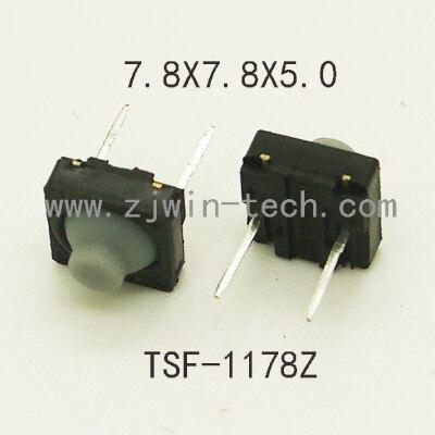 500 قطعة 7.8X7.8X5mm سيليكون بدون صوت دفع زر لحظة اللباقة التبديل زر مطاط DIP الأوسط 2pin السفر الطويل