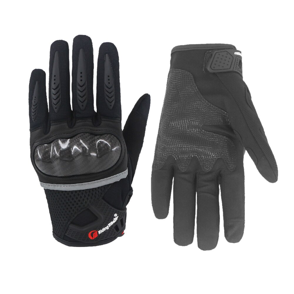 free shipping newest rs 390 full skin perforated carbon fiber glove motorcycle racing gloves full finger 3 size 3 color Motorcycle Glove Touch Screen Full Finger Non-Slip Breathable Flexible Outdoor Sport Carbon Fiber Racing Riding Bicycle Gloves