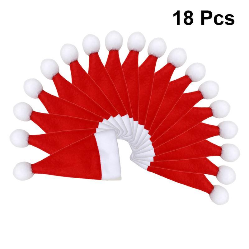 18 Uds cubertería para Navidad bolsas lindo sombrero de Navidad en forma de botella cubre tenedor cuchillo vajilla bolsa de suministros para fiesta para casa