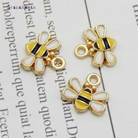 graceangie 10pcs tiny bee enamel charm for jewelry making crafting cute earring pendant necklace bracelet charms 11mm trendy