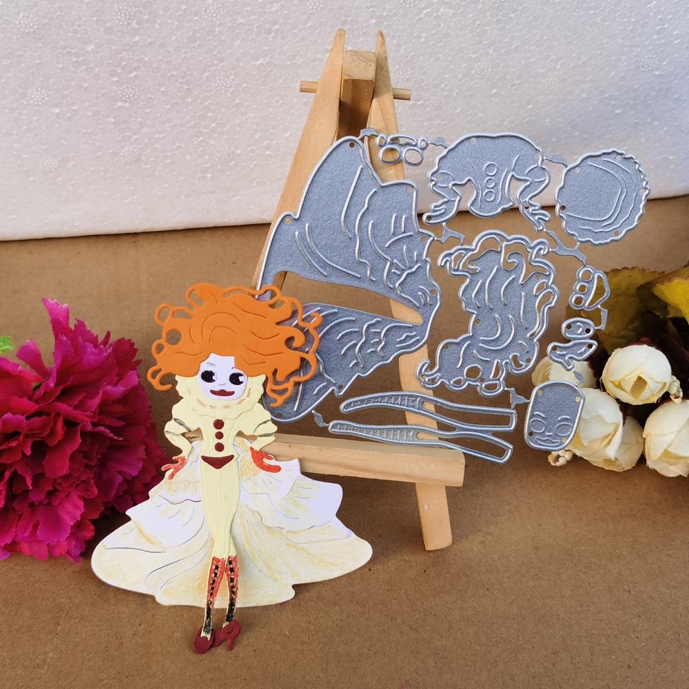 Hermosa personalidad de pelo rojo niña o mujer combinación arte corte metal troquelado papel de scrapbook tecnología DIY